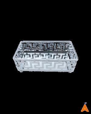 Bandeja Espelhada Retangular Metálica Prata