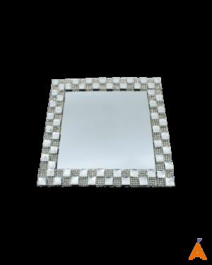 Bandeja de Vidro Quadrada Espelhada Prata